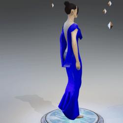 Elegant Extremely Low Back Dress BLUE