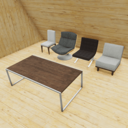 Amchair set with table