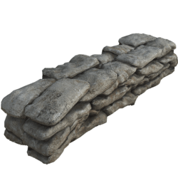 Sandbag wall 01 Old Burlap