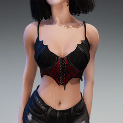 """Goth Top """"Miss Batfly"""" in Black & Red"""