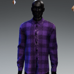 Grunge Plaid Long Buttoned Shirt Purple