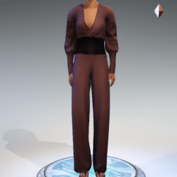 Wrapped Pantsuit - Linen and Leather - Wine