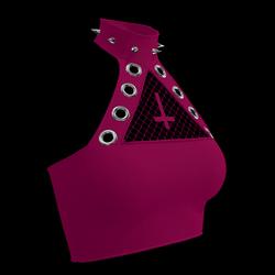 Inverted Cross Halter Top (Midnight Pink)