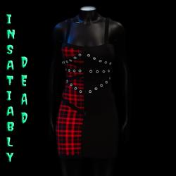 Pentagram Strapped Dress Tartan [RED]