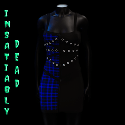 Pentagram Strapped Dress Tartan [BLUE]