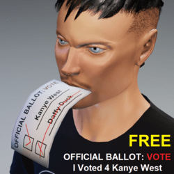 I Voted 4 Kanye West: Ballot In Mouth