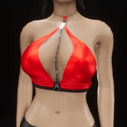 Chain top halter (red velvet)
