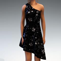 Shoulder Strap Dress in Painted Garden - Black