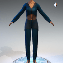 Sheer Tunic Suit - Teal Wool