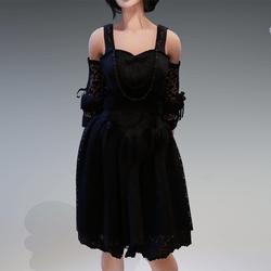 "Gothic Fairy Dress ""Rokoko"" with Black Pearls"