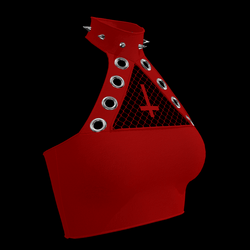 Inverted Cross Halter Top (Red)