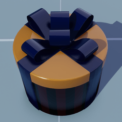 Gift Round(Pattern) with Blue Bow