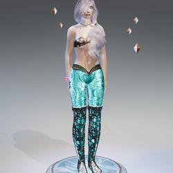 Blue Shellfish Fossils Mermaid Leggings - Female